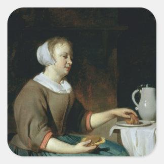 Retrato de un chica asentado en una tabla calcomanía cuadrada