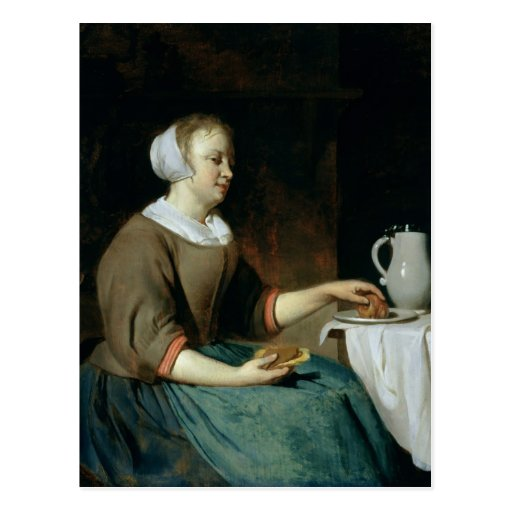 Retrato de un chica asentado en una tabla postal
