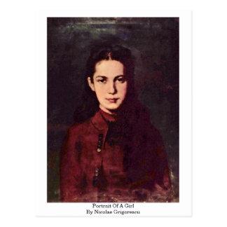 Retrato de un chica de Nicolae Grigorescu Tarjeta Postal