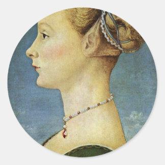 Retrato de un chica de Pollaiuolo Piero Pegatina Redonda