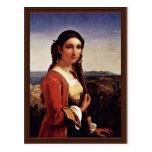 Retrato de un chica de Retuna de Roberto Léopold ( Tarjeta Postal
