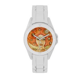 Retrato de un chica hermoso relojes de pulsera