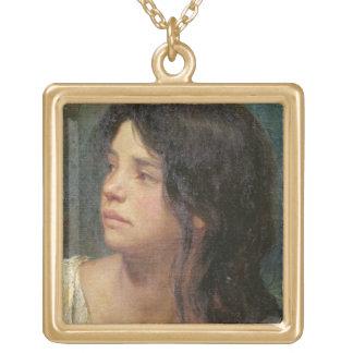 Retrato de un chica oscuro-haired, 1867 colgante cuadrado