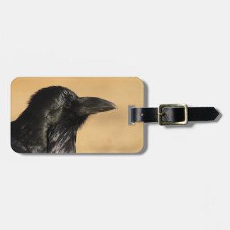 Retrato de un cuervo etiquetas para equipaje