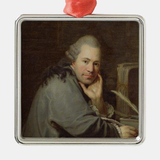 Retrato de un escritor, 1772 adorno cuadrado plateado