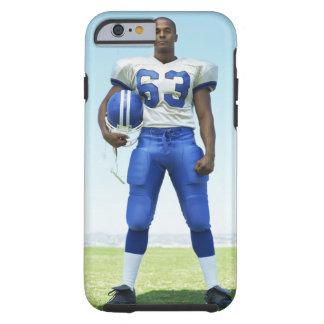 retrato de un futbolista que celebra un fútbol funda para iPhone 6 tough