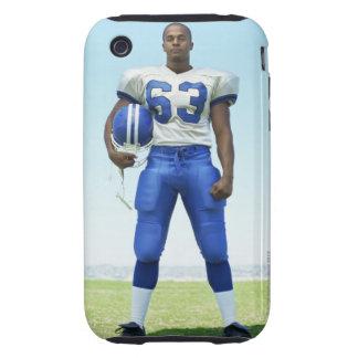 retrato de un futbolista que celebra un fútbol iPhone 3 tough funda