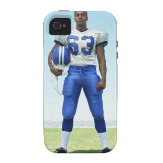 retrato de un futbolista que celebra un fútbol iPhone 4/4S carcasa