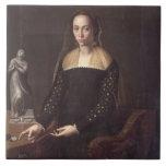 Retrato de un Gentlewoman, 1559 (aceite en el pane Azulejo Cuadrado Grande