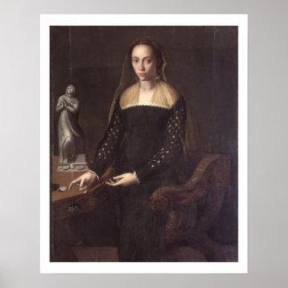 Retrato de un Gentlewoman, 1559 (aceite en el pane Poster