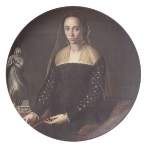 Retrato de un Gentlewoman, 1559 (aceite en el pane Plato