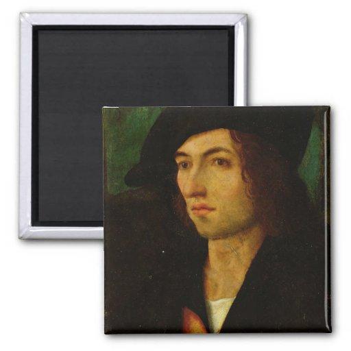 Retrato de un hombre, 1506 (aceite en el panel) imanes de nevera