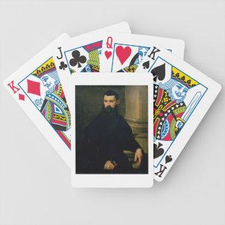 Retrato de un hombre (aceite en lona) 2 baraja de cartas bicycle