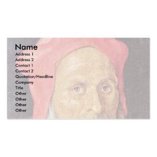 Retrato de un hombre barbudo con el casquillo rojo tarjetas de visita