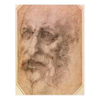 Retrato de un hombre barbudo postal