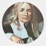 ¿Retrato de un hombre con el pelo rubio largo Etiquetas Redondas