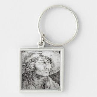 Retrato de un hombre desconocido, 1521 llavero cuadrado plateado