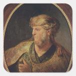 Retrato de un hombre en el traje oriental, 1633 calcomania cuadradas personalizadas