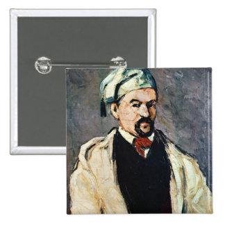 Retrato de un hombre en un casquillo azul pin cuadrado