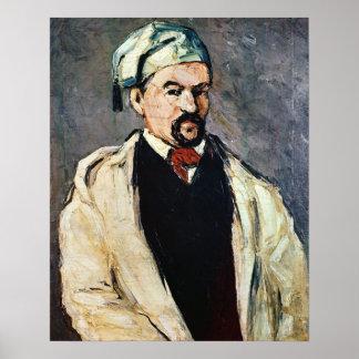 Retrato de un hombre en un casquillo azul póster
