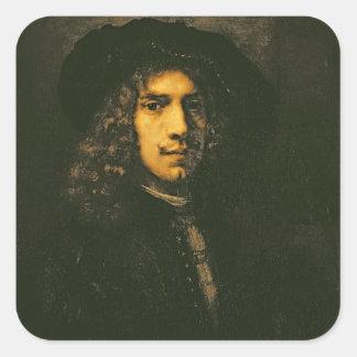 Retrato de un hombre joven, 1658 (aceite en lona) pegatina cuadrada