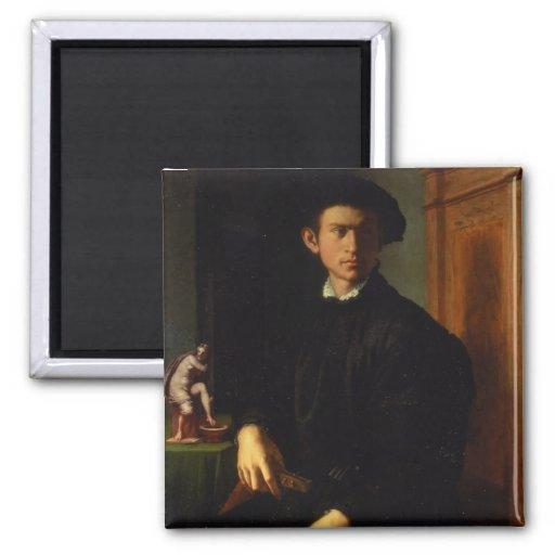 Retrato de un hombre joven, c.1532-40 (aceite en e iman de frigorífico