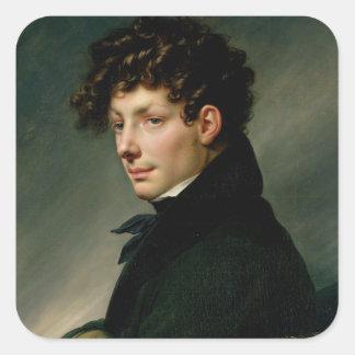 Retrato de un hombre joven como cazador, 1811 pegatina cuadrada