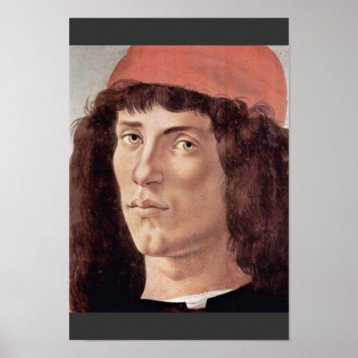 Retrato de un hombre joven con el casquillo rojo p póster