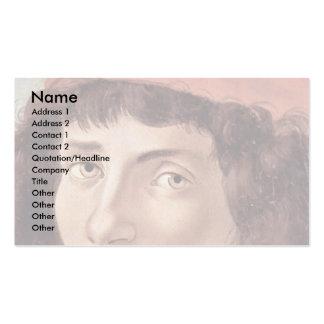 Retrato de un hombre joven con el casquillo rojo p tarjeta de visita