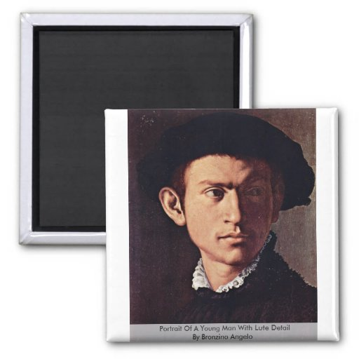 Retrato de un hombre joven con el detalle del laúd imán de frigorifico