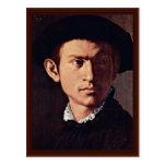 Retrato de un hombre joven con el detalle del laúd tarjeta postal
