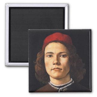 Retrato de un hombre joven de Sandro Botticelli Imán Cuadrado