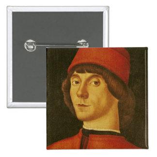 Retrato de un hombre joven pin cuadrada 5 cm