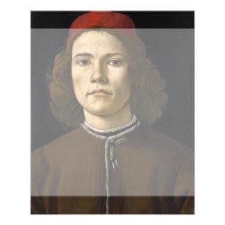 """Retrato de un hombre joven por Botticelli Folleto 4.5"""" X 5.6"""""""