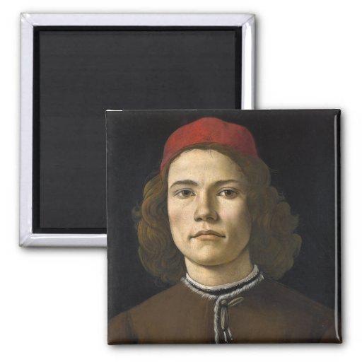 Retrato de un hombre joven por Botticelli Iman De Nevera