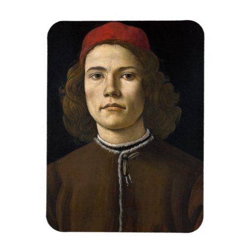 Retrato de un hombre joven por Botticelli Imán De Vinilo