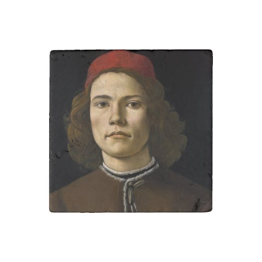 Retrato de un hombre joven por Botticelli Imán De Piedra