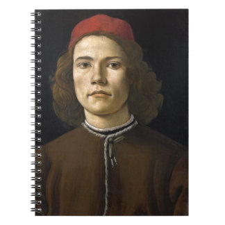 Retrato de un hombre joven por Botticelli Libro De Apuntes Con Espiral