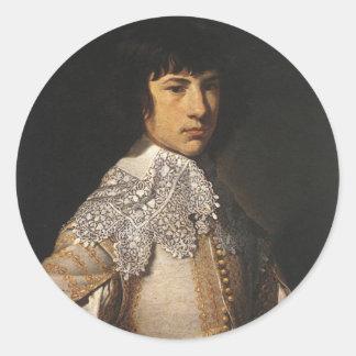 Retrato de un hombre joven por la borla de Jean Pegatina Redonda