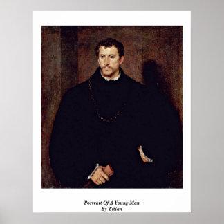Retrato de un hombre joven por Titian Póster