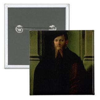 Retrato de un hombre pin cuadrada 5 cm