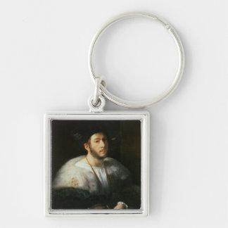 Retrato de un hombre, posiblemente Cesare Borgia ( Llavero Cuadrado Plateado