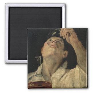 Retrato de un hombre que bebe, c.1581-4 (aceite en imanes de nevera