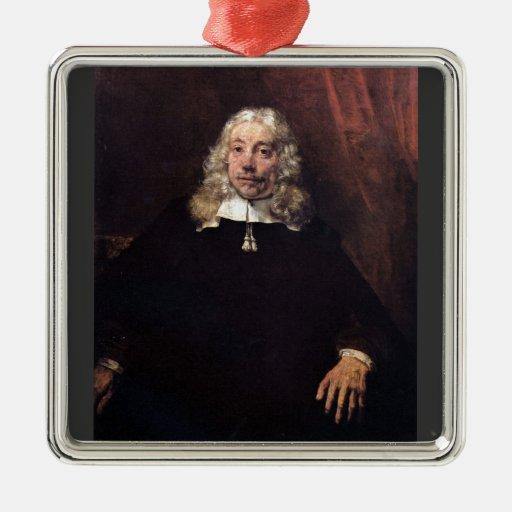 Retrato de un hombre rubio de Rembrandt Adorno Cuadrado Plateado