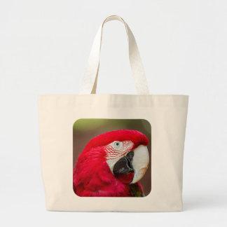 Retrato de un Macaw Verde-con alas Bolsa De Tela Grande