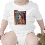 Retrato de un muchacho con el pelo rubio trajes de bebé