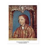 Retrato de un muchacho con el pelo rubio tarjetas postales