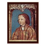 Retrato de un muchacho con el pelo rubio tarjeta postal