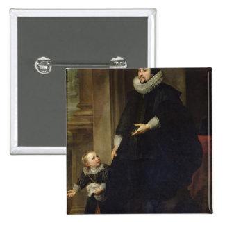 Retrato de un noble y de su niño pin cuadrada 5 cm