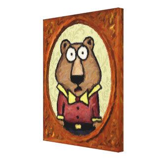Retrato de un oso impresion en lona